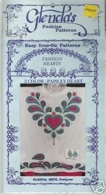 Glendas iron-on pattern FASHION HEARTS PAISLEY HEART