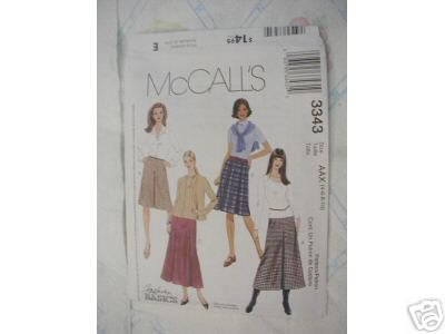 MISSES SKIRTS 2 LENGTHS  PATTERN McCALL'S 12-18