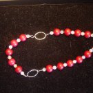 Cracked Glass and Red Coral Necklace and Earring Set