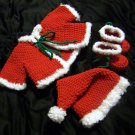 Crochet Santa Baby Outfit - hat, booties, jacket 2 sizes