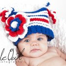Patriotic Girl's Halo Hat - Any Size - any color pattern