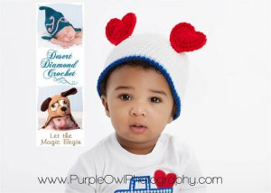 Crochet Pattern 010 - Heart Ears Beanie - All Sizes