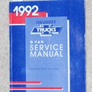 1992 Service Manual Chevrolet G Van