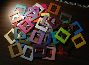 40 Slide Mounts Various Colors with Storage Box