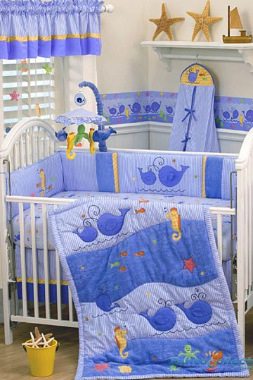 LAMBS and IVY Blue WHALES TALE 7p Baby BOY Crib BEDDING Sealife Whale's Tail Nursery SET