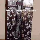 Brown Leather Overlay Wine Spirits Holder with Floral Motif NEW