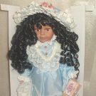 16 inch African American Fine Bisque Porcelain Victorian Doll Satin Blue with Lace NEW