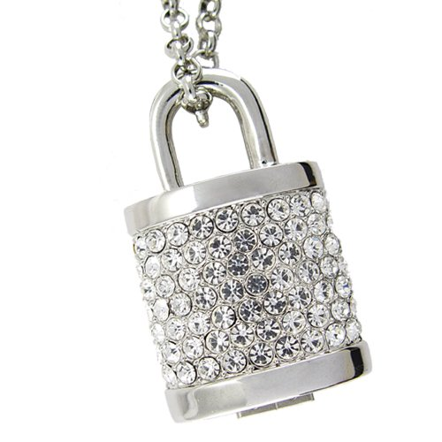 8GB USB Flash Drive Necklace - Jeweled Metal Lock  [TKE-CVSC-K16]