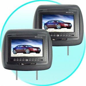7 Inch LCD Car Headrest DVD Player + FM Transmitter -Pair -Black  [TKE-CVEJS-DV708-BLACK]