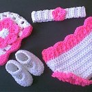 Hat_&_Diaper & Shoes with Headband 5 Pc Set Pink *Photo Prop*