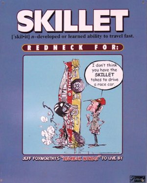 TIN SIGN - Jeff Foxworthy Skillet - Race Car