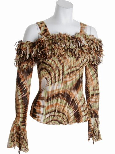 Womens long sleeved ruffle tank shirt - original & sexy-Plus size