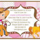 Cowgirl Western Rodeo Horse Digital Birthday Party Invitations