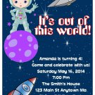 Astronaut Outer Space Girl Digital Birthday Party Invitations
