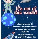Astronaut Outer Space Boy Digital Birthday Party Invitations