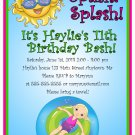 Pool Party Summer Time Beach Girl Digital Birthday Party Invitations