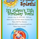 Pool Party Summer Time Beach Boy Digital Birthday Party Invitations