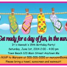 Pool Party Flip Flops Summer Time Beach Digital Birthday Party Invitations