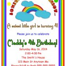 Rainbow Colorful Little Girl Digital Birthday Party Invitations