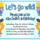 Zoo Animals Cute Boy Blue Digital Birthday Party Invitations