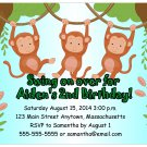 Swinging Monkeys Cute Digital Birthday Party Invitations