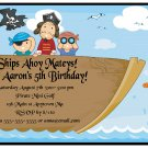 Pirate Ship Boys Cute Digital Birthday Party Invitations