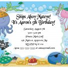 Pirate Sea Creatures Boys Cute Digital Birthday Party Invitations