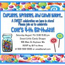 Candy Shop Shoppe Boy Blue Digital Birthday Party Invitations