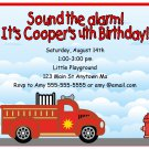Fire Truck Engine Cute Boys Digital Birthday Party Invitations