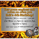 Motorcycle Flames Cool Boys Digital Birthday Party Invitations