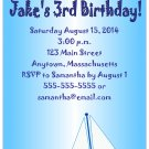Blue Sailboat Cute Boys Digital Birthday Party Invitations