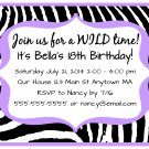 Light Purple Zebra Girl Teen Adult Digital Birthday Party Invitations