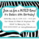Aqua Turquoise Zebra Girl Teen Adult Digital Birthday Party Invitations