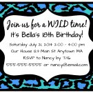 Aqua Turquoise Leopard Girl Teen Adult Digital Birthday Party Invitations