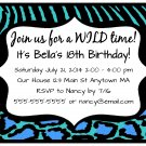 Aqua Turquoise Leopard Zebra Girl Teen Adult Digital Birthday Party Invitations