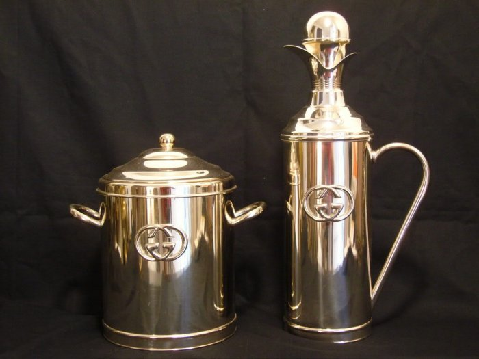 Rare and Amazing Set of Gucci Ice Bucket / Wine Cooler and Jug