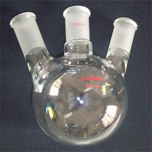 Round bottom flask,3-neck,500ml,24/40,heavy wall,angled