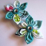 FABRIC FLOWER HAIR CLIPS - SET OF TWO IN SWIMMING POOL BLING