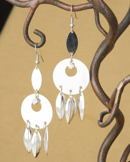 Silver Circle & Feather Crystal Rhinestone, Dangle Fashion Earrings