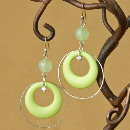 Hoops and Bead Fashion Earrings - Green