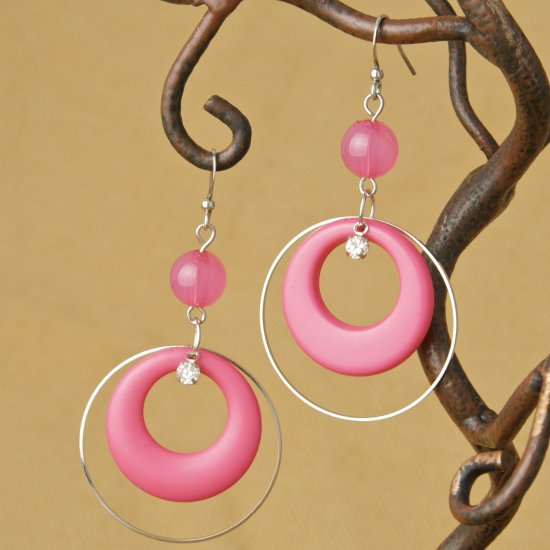 Hoops and Bead Fashion Earrings - Pink