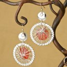 Large Red Faceted Silver Wire Dream Catcher Dangle Earrings