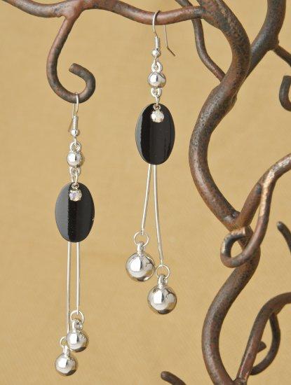 "Original Black Oval Dangle Earrings 3 1/5"" Fashion Earrings"