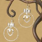 "Bow Heart and Circle 1 3/4"" Fashion Earrings"