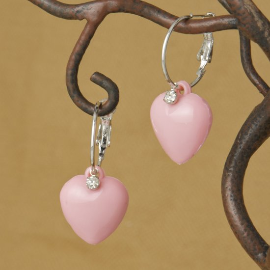 Pink Heart & Rhinestone, Hoop Earrings