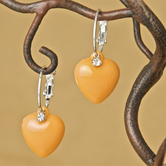 Orange Heart & Rhinestone, Hoop Earrings