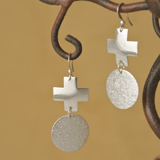 """Hammered circle and polished cross 2"""" Fashion Earrings"""