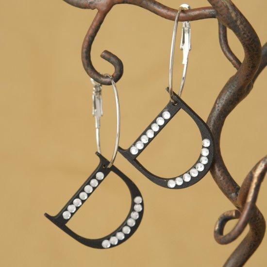 Initial D Black Wood & Crystal Rhinestone Hoop Dangle Earring