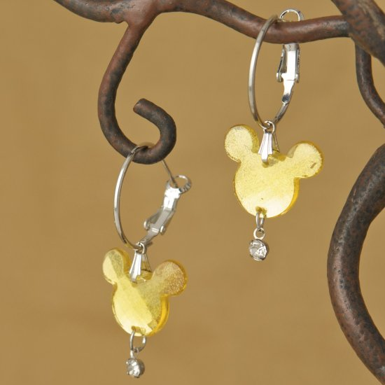 Citron Yellow Faceted Mouse Head Dangle Hoop Earrings