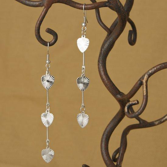 """Silver Triple Heart Dangle Earrings 3 1/4"""""""